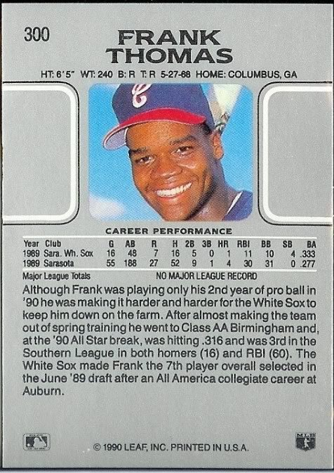 How To Spot A Counterfeit 1990 Leaf Frank Thomas Rookie Card